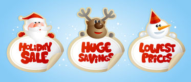 New year sale stickers with Santa, deer and snowman. Stock Photography