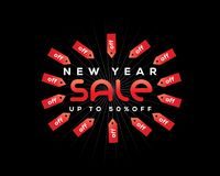 New year sale with tags around sign Stock Image