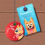 New Year Sale Tags Set With Dog Holiday Discount On Wooden Textured Background Royalty Free Stock Photo