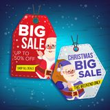 Christmas Sale Tags Vector. Flat Christmas Special Offer Stickers. Santa Claus. 50 Off Text. Hanging Sale Banners With Stock Photos