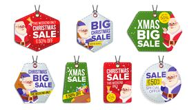 New Year Sale Tags Vector. Colorful Shopping Discounts Stickers. Santa Claus. Discount Concept. Season Christmas Sale. Christmas Theme Sale Tags Vector royalty free illustration