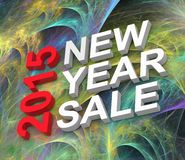 New Year Sale 2015. Text on fractal fireworks background Stock Photos