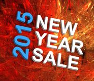 New Year Sale 2015. Text on fractal fireworks background Royalty Free Stock Photos