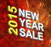 New Year Sale 2015. Text on fractal fireworks background Royalty Free Stock Images