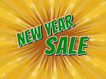 new year sale, wording in comic speech bubble on burst backgroun Stock Photo