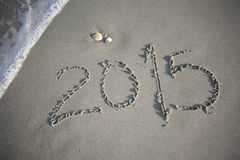 New Year 2015 in the Sand at the Beach Stock Images