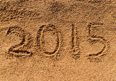 New Year 2015 on sand Stock Image