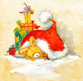New Year Santa Bunny. background congratulations. Christmas seri Stock Images