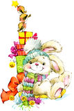 New Year Santa Bunny. background congratulations. Stock Images