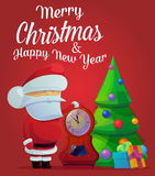 New year santa claus, fir tree with decorations. New year santa claus near fir tree with decorations and clocks showing time five minutes till midnight. May be Royalty Free Stock Image