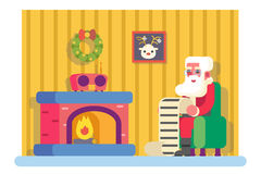 New Year Santa Claus Fireplace Armchair Hold. Children Gift List Room Christmas Icon Greeting Card Flat Design Vector Illustration Royalty Free Stock Images