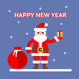 New Year Santa claus with gift box and bag on Royalty Free Stock Photography