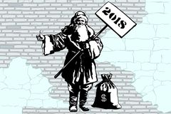 2018 new year Santa Claus hitchhiker with a bag of money. Graffiti style. New year and Christmas. Pop art retro vector illustration. Old city brick wall Stock Images