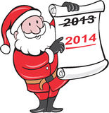 New Year 2014 Santa Claus Scroll Sign. Illustration of Father Christmas Santa Claus showing a paper scroll with year 2013 crossed out and pointing to New Year vector illustration