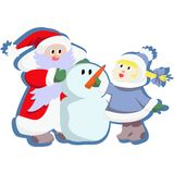 New year. Santa Claus, Snow Maiden and Snowman Royalty Free Stock Photo
