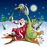 New Year. Santa and the dragon drink sitting on a tiger skin and eating a rabbit. Eps8 CMYK Global colors Gradients used royalty free illustration