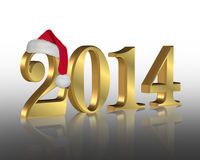 2014 New year santa hat. 2014 New year's eve party invitation or greeting card graphic with 3 dimensional numbers wearing a Santa hat royalty free illustration
