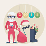 New Year Santa set. With a cute Santa in glasses, gift sack, mask, Santa Hat, stockings with gifts and the date 2015 on hanging baubles for a colorful seasonal stock illustration