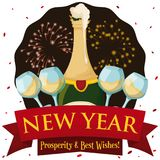 New Year Scene with Champagne, Wineglasses, Confetti and Fireworks Display, Vector Illustration. Poster with New Year scene: frothy champagne bottle, wineglasses Royalty Free Stock Photos