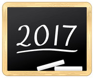 New Year 2017 on a school slate. Royalty Free Stock Photos
