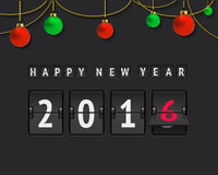 New year 2016 scoreboard. Analog scoreboard with holiday text and christmas balls. Flip countdown timer Stock Photos