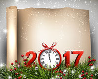 New Year 2017 scroll background. New Year 2017 scroll background with clock. Vector paper illustration Royalty Free Stock Photography