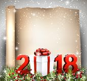 New Year 2018 scroll background. New Year 2018 scroll background with gift. Vector paper illustration Royalty Free Stock Photo