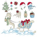 NEW YEAR SEA HORSE New Year Color Vector Illustration Set. For Birthday and Party, Wall Decorations, Scrapbooking, Baby Book, Photo Albums and Card Print vector illustration