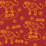 The new year seamless. The bull new year 2009 seamless Stock Photos