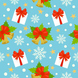 New Year seamless background with gifts and bell Stock Photo