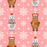 New Year seamless background with horse. New Year seamless background with funny horse vector illustration