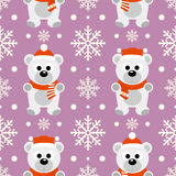 New Year seamless background with polar bear Royalty Free Stock Image