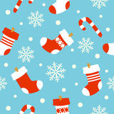 New Year seamless background ,socks with gifts Stock Photography