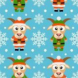 New Year seamless card with goats. New Year seamless card with funny goat santa claus and goat elf royalty free illustration