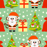 New Year seamless card with monkey Santa Claus Royalty Free Stock Image