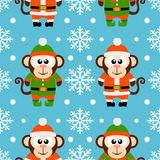 New Year seamless card with monkeys. New Year seamless card with funny monkey santa claus and monkey elf vector illustration
