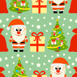 New Year seamless card with Santa Claus and Christmas tree. Vector royalty free illustration
