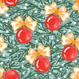 New year seamless pattern with balls and fir branches 4. New year seamless pattern with balls and fir branches. Watercolor painting. Christmas background Stock Images