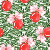 New year seamless pattern with balls and fir branches. Watercolor painting. Christmas background Royalty Free Stock Photos