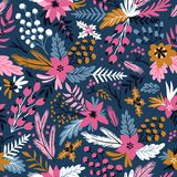 New year vector seamless pattern with branches, berries and flowers. Christmas floral hand drawn wrap paper. New year seamless pattern with branches, berries Stock Photo