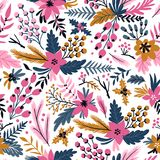 New year vector seamless pattern with branches, berries and flowers. Christmas floral hand drawn wrap paper. New year seamless pattern with branches, berries Royalty Free Stock Image