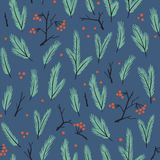 New year vector seamless pattern with branches of fir tree and berries. Christmas hand drawn wrap paper or fabric design. New year seamless pattern with Royalty Free Stock Photo