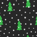 New Year seamless pattern. Christmas trees, snowflakes, stars. Sketch, doodle, children`s drawing. Vector illustration Stock Photography