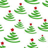 New Year seamless pattern with Christmas trees. And star Royalty Free Stock Photo