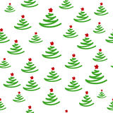 New Year seamless pattern with Christmas trees. And star Royalty Free Stock Image