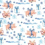 New Year seamless pattern with cute pigs, Christmas gifts and snowflakes. 2019 Chinese Year symbol. Design element for stock illustration