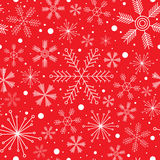 New Year seamless pattern with different white snowflakes on red background Stock Photo