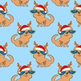 New Year seamless pattern with dogs. Dogs in a New Year`s cap and glasses. Vector illustration Festive Christmas seamless  pattern Stock Image