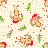 New Year seamless pattern with funny monkeys Stock Photography