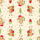 New Year seamless pattern with funny monkeys Stock Photos